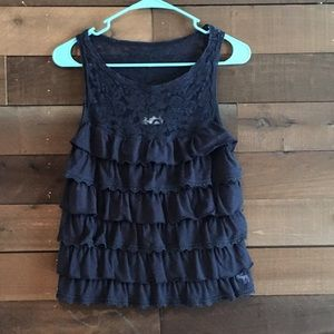 Breezy A&F lace and ruffle tank in Navy Blue sz L
